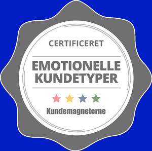 Logo fra certificeringen som kundetypeekspert i Emotionelle Kundetyper