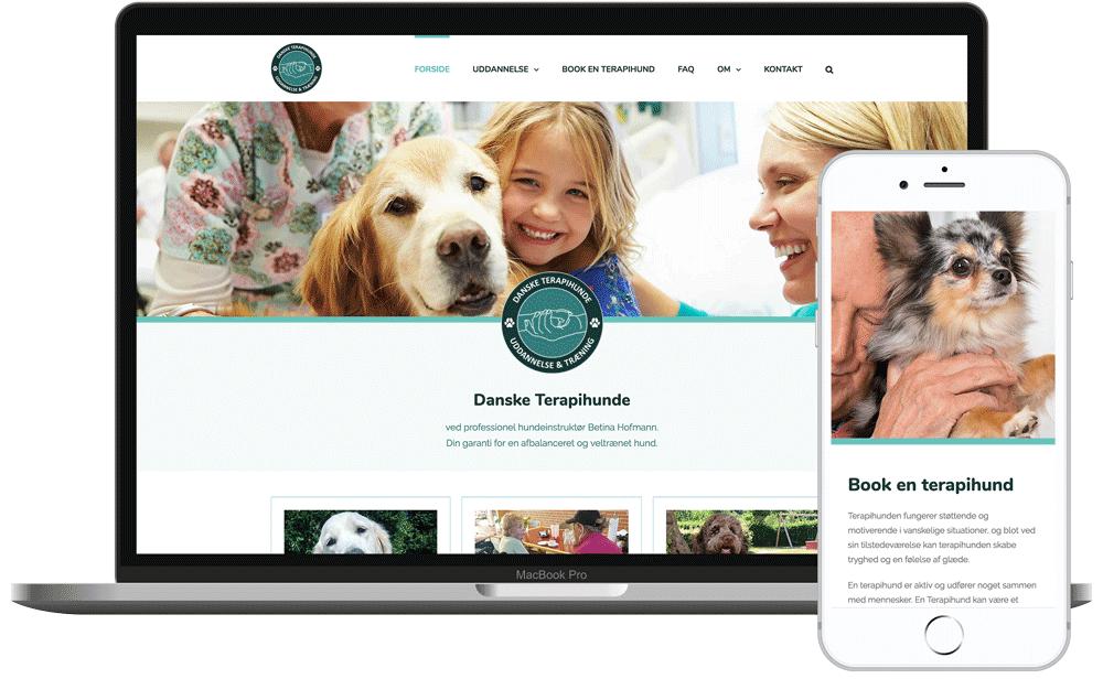 Hjemmesidedesign til Danske Terapihunde